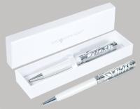 Ручка подарочная шариковая Graceful корпус перламутровый белый с лазерной вырубкой картонная коробка 026086-02